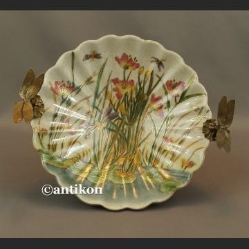 Patera porcelanowa z ważkami w brązie