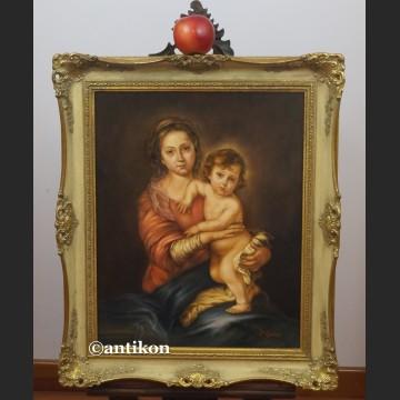 Madonna z dzieciątkiem obraz olejny religijny wg Murillo