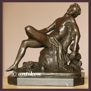 Piękny Apollo francuska rzeźba duży sygnowany brąz