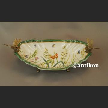 Patera porcelanowa z brązem w stylu secesyjnym