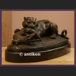Rzeźba lew i krokodyl prawdziwy brąz aligator