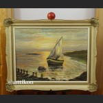 Brzeg morza o zachodzie słońca malarstwo olejne