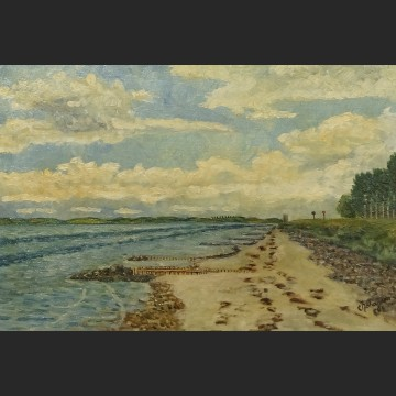 Plaża brzeg morski obraz olejny