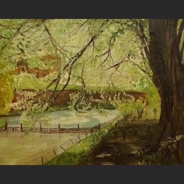 Pejzaż wiosna nad rzeką impresja