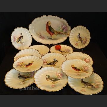 Serwis Limoges Francuski do dziczyzny ręcznie malowany komplet obiadowy
