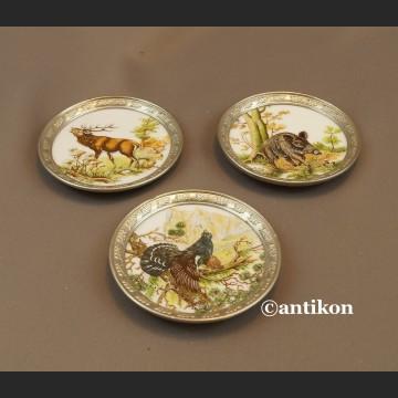 Podstawki myśliwskie cyna z ceramiką