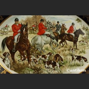 Talerz myśliwski scena z polowania porcelana