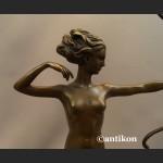 Diana akt z brązu Art Deco dziewczyna z łukiem