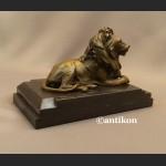 Lew rzeźba z brązu art deco czuwający