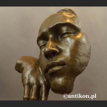 Myśliciel zaduma maska Salvador Dali rzeźba z brązu