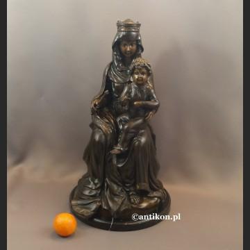 Madonna z dzieciątkiem rzeźba z brązu duża