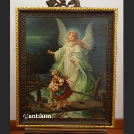 Anioł Stróż z dziećmi na kładce obraz olejny na desce