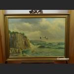 Obraz morze klif i dzike gęsi obraz marynistyczny