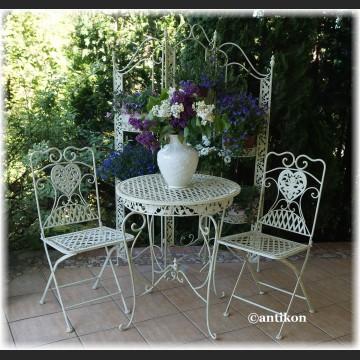 Meble ogrodowe z kutego metalu stół i 2 krzesła