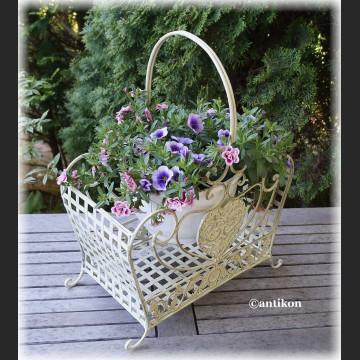 Kosz biały prowansalski metalowy do kwiatów duży
