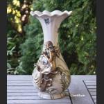 Wazon z nimfą secesyjny porcelana z brązem