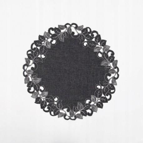 Serwetka grafitowa z haftem 40 śliczna