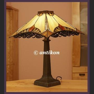 GABINETOWA PIĘKNA DUŻA LAMPA WITRAŻOWA TIFFANY AŻUR