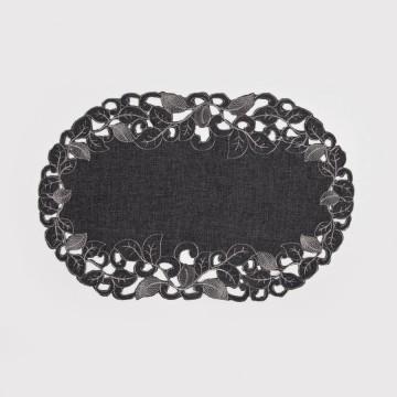 Serwetka bieżnik szara z haftem richelieu 30 x 45