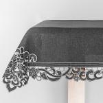 Obrus z gipiurą z haftem 130 x 180  szarość