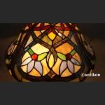 Lampa witrażowa brązowa w kwiaty