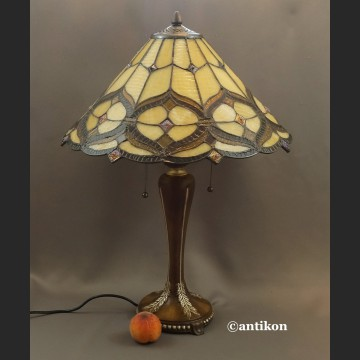 Lampa witrażowa do salonu beżowo brązowa