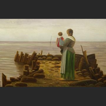 Oczekiwanie brzeg morza romantyczny obraz marynistyczny