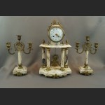 Zegar kominkowy antyk marmurowy ze świecznikami Francja
