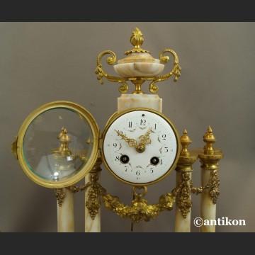 Zegar kominkowy antyki z przystawkami stary marmurowy