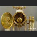 Zegar kominkowy z marmuru antyk z przystawkami