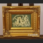 Relief  alabastrowy obraz Aniołki i Delfiny
