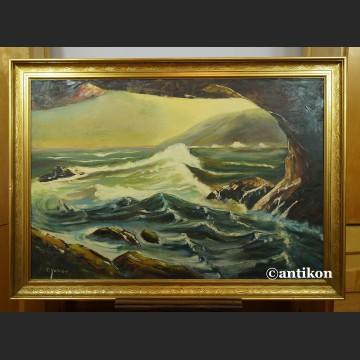 Obraz morze marynistyczny pejzaż Widok z groty