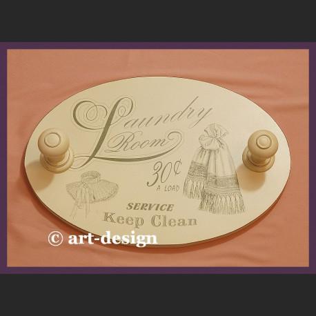 Wieszak vintage do pralni łazienki Loundry Room drewniany