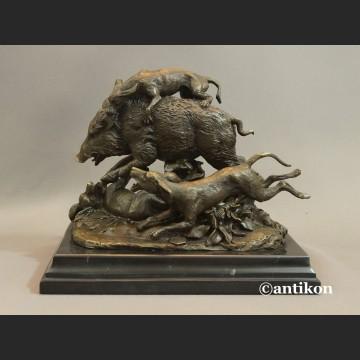 Dzik duża rzeźba brąz prezent dla myśliwego
