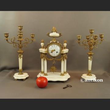 Zegar kominkowy marmurowy ze świecznikami