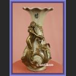 Porcelanowy wazon z elfem porcelana z brązem