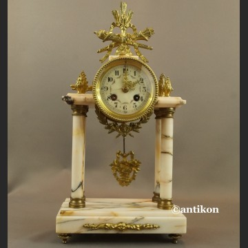 Zegar kominkowy stary francuski marmurowy