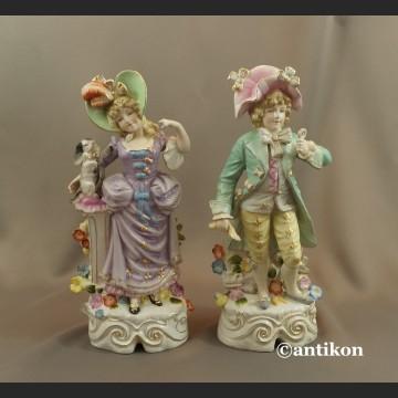 Porcelanowe figury para dworska prezent ślubny duże okazy