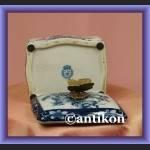 Szkatułka wzór cebulowy kobaltowy puzdro z motylem