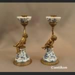 Wzór cebulowy komplet świeczników z aniołkami