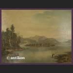 Obraz olejny na desce  Widok na jezioro