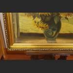 Obraz kwiaty słoneczniki w oknie olej na  płótnie