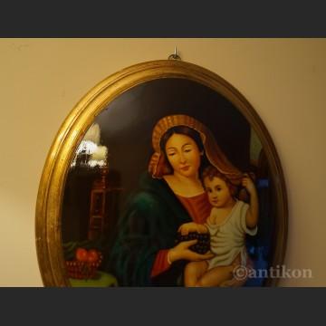 Obraz Madonna z Jezusem na owalnym medalionie