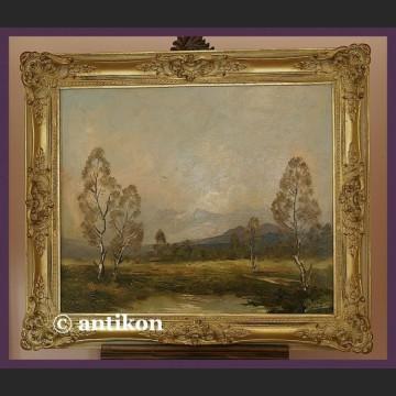 Obraz olejny Kiste 1935 R. Brzozy malowany na desce