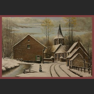 Obraz olejny duży Holenderskie miasteczko Zima