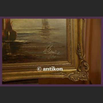 Obraz olejny marynistyka stary olej na płótnie Łodzie i morze
