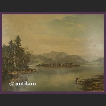 Obraz olejny na desce wielki Widok na jezioro