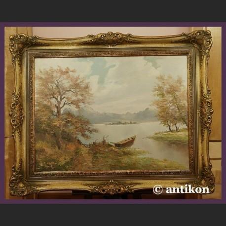 Nietypowy Okaz Obraz olejny na płótnie Nad jeziorem piękny w złotej ramie XT52