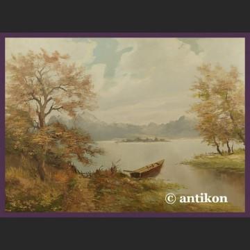 Obraz olejny na płótnie Nad jeziorem piękny w złotej ramie
