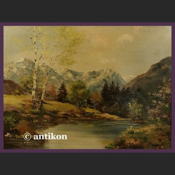 Stary obraz olejny Pejzaż z rzeką i brzozami